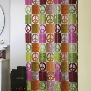"""Peace Out"" Peace Sign Vinyl Shower Curtain"